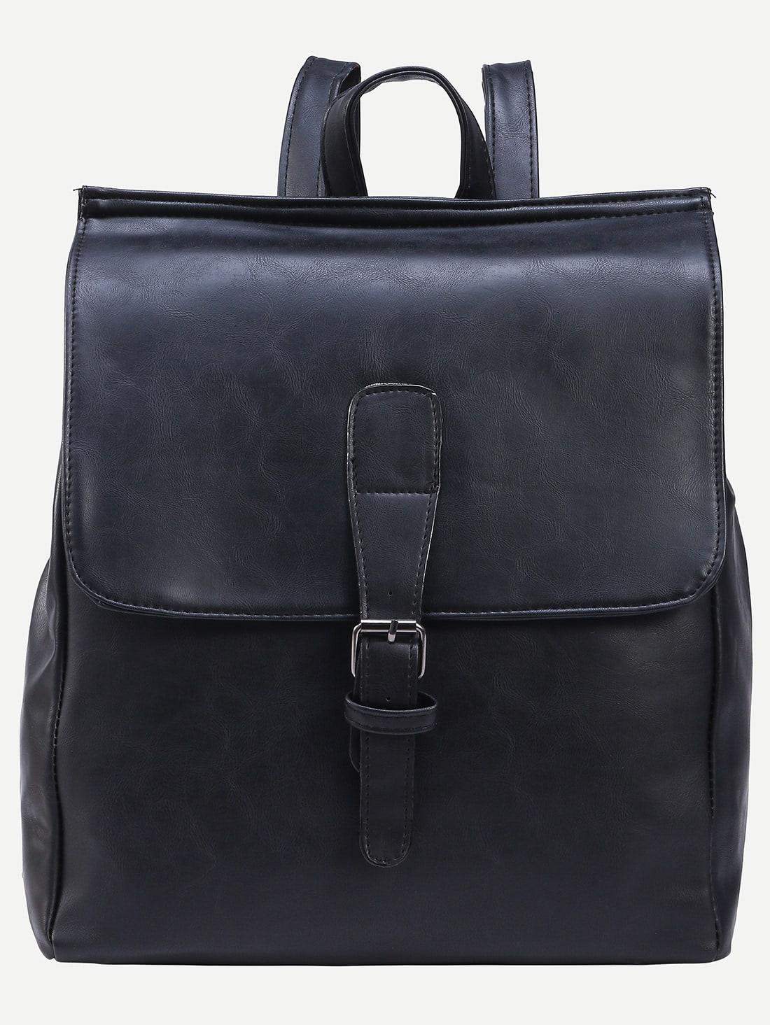 Фото Black Buckled Strap Front Flap Backpack. Купить с доставкой