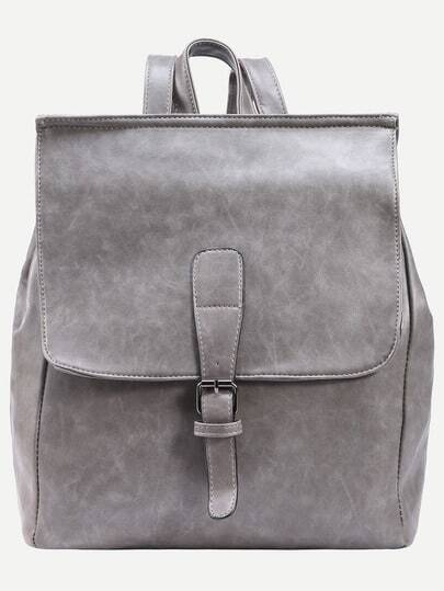 Grey Buckled Strap Front Flap Backpack