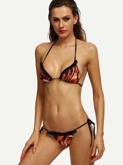 Brown Tiger Print Shirred Trim Bikini Set