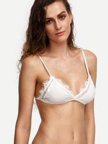 White Eyelash Lace Trim Bralet -SheIn(Sheinside)