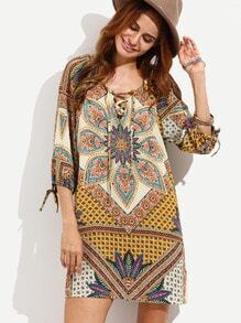 Colorful Baroque Pattern Lace Up Dress