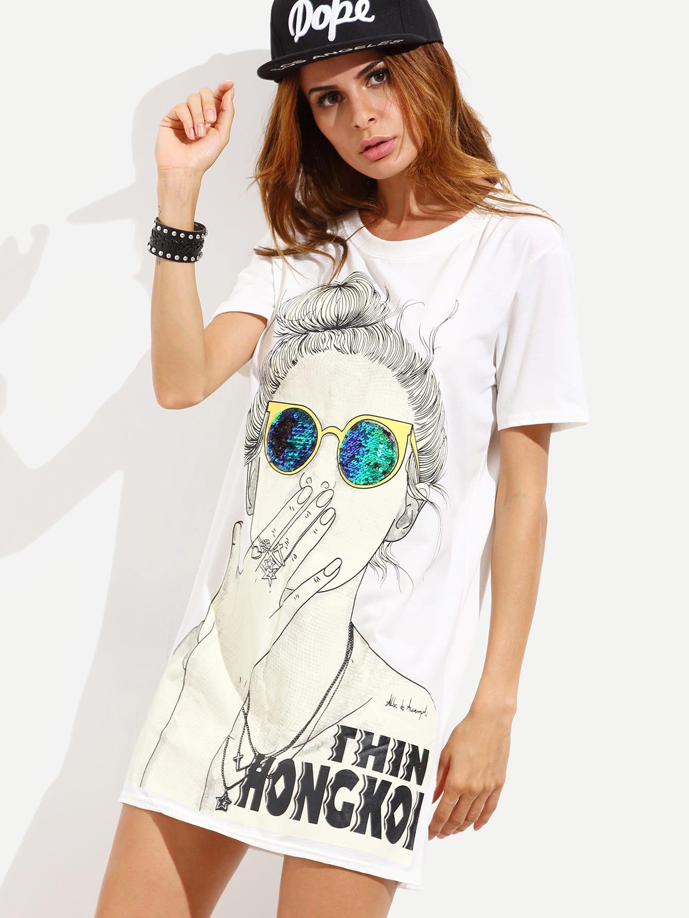 White Cartoon Print Slit Side Tshirt Dress dress160622101