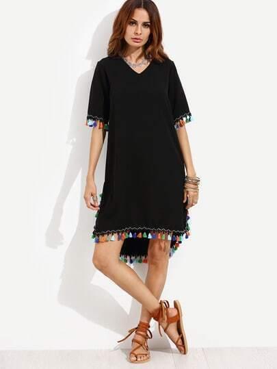 Black Dip Hem Dress With Colorful Tassel Trim