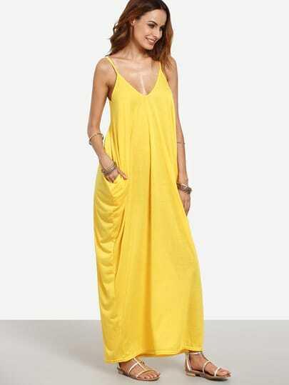 Yellow Spaghetti Strap Plain Maxi Dress