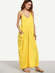 Yellow Spaghetti Strap Plain Maxi Dress