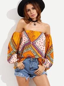 Orange Off The Shoulder Puff Sleeve Tribal Print Blouse
