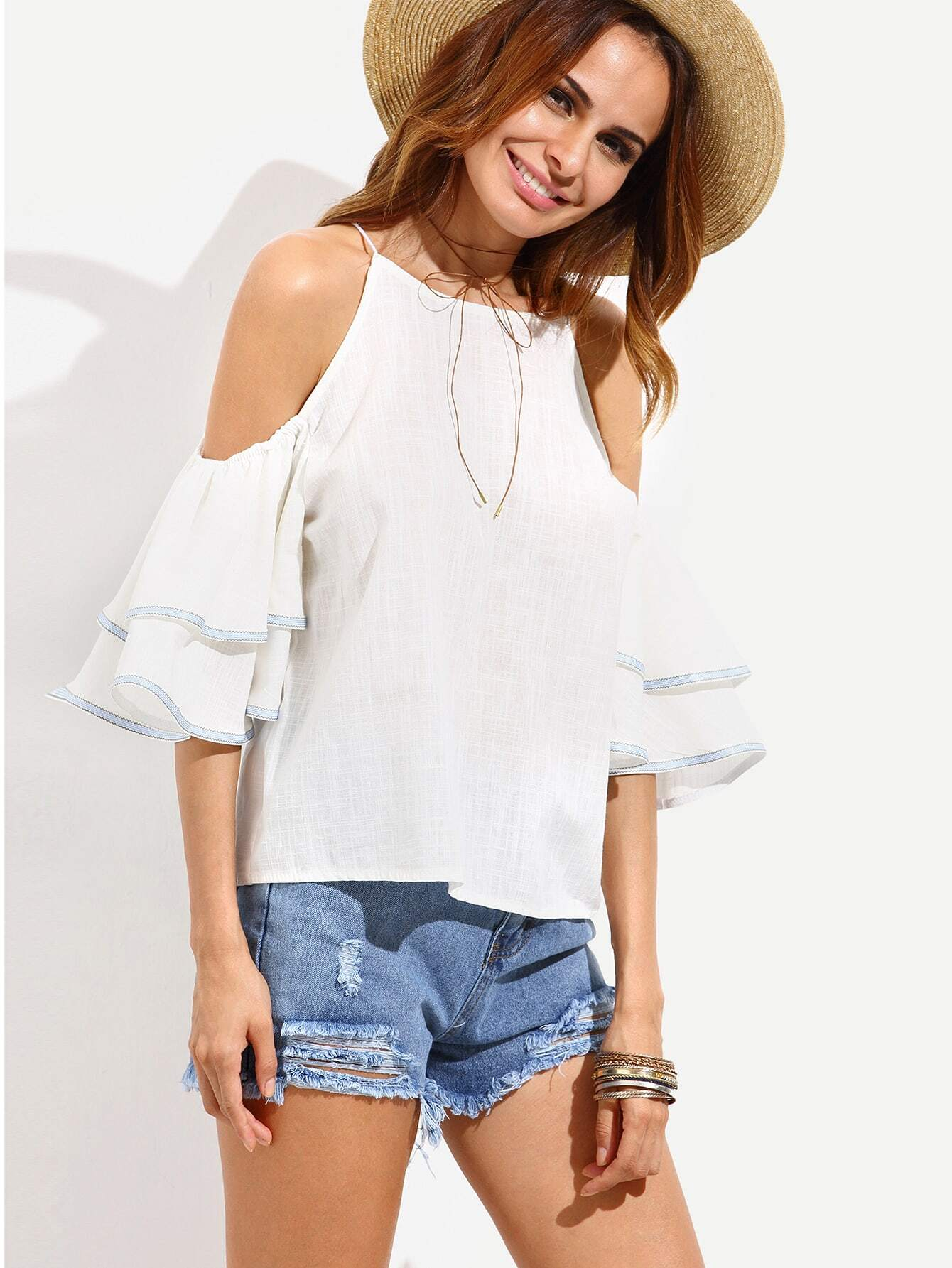 White Cold Shoulder Ruffle Sleeve BlouseWhite Cold Shoulder Ruffle Sleeve Blouse<br><br>color: White<br>size: one-size
