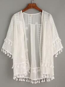 White Embroidery Sheer Mesh Kimono With Tassel Trim