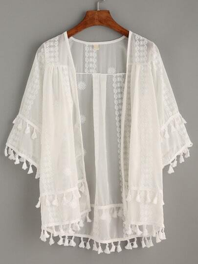 White Embroidery Sheer Mesh Kimono With Tassel Trim