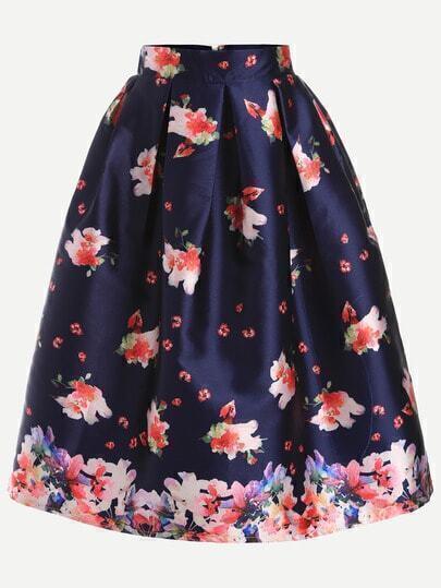 Navy Floral Print Flare Skirt