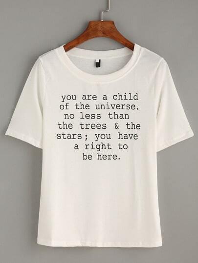 Beige sentence Print T-shirt