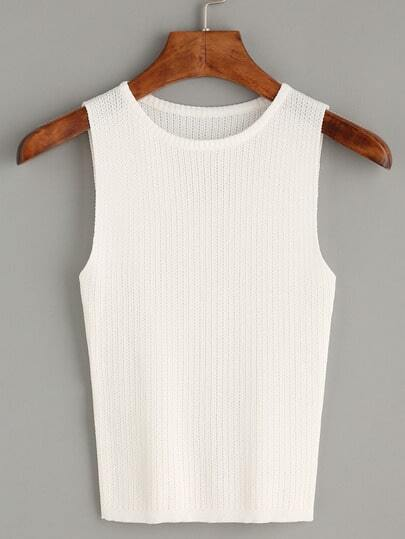 White Plain Knit Tank Top