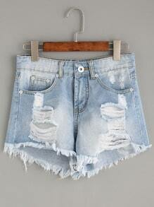 Light Blue Ripped Tassel Trimmed Denim Shorts