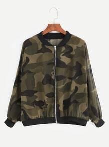 Camouflage Print Chiffon Bomber Jacket