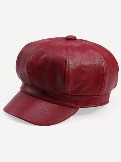 Burgundy Vintage Octagonal Cap