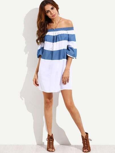 Colorblock Off The Shoulder Shift Dress