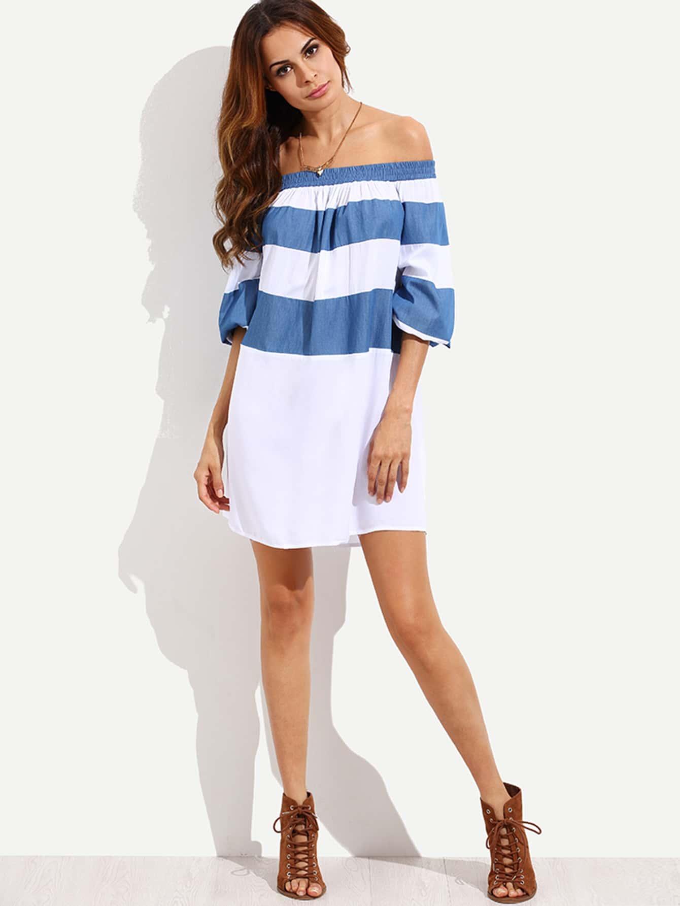 Colorblock Off The Shoulder Shift Dress dress160622504