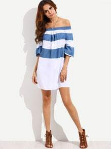 Colorblock Off The Shoulder Shift Dress