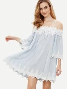 Blue Spaghetti Strap Cold Shoulder Crochet Trim Dress