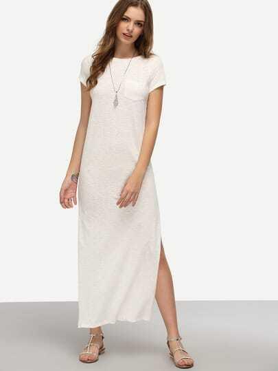 White Short Sleeve Pocket Split Dress