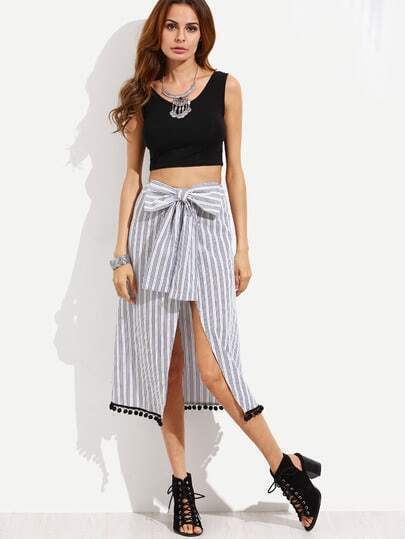 Vertical Striped Bow Front Pom-pom Hem Skirt