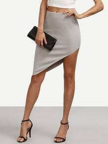 Grey Skinny Asymmetrical Skirt
