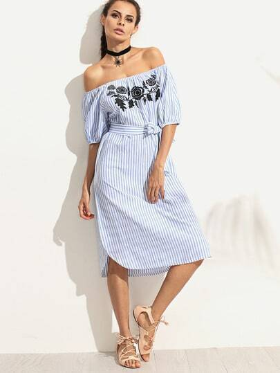 Сине белое полосатое платье