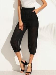 Black Elastic Waist Split Chiffon Pants