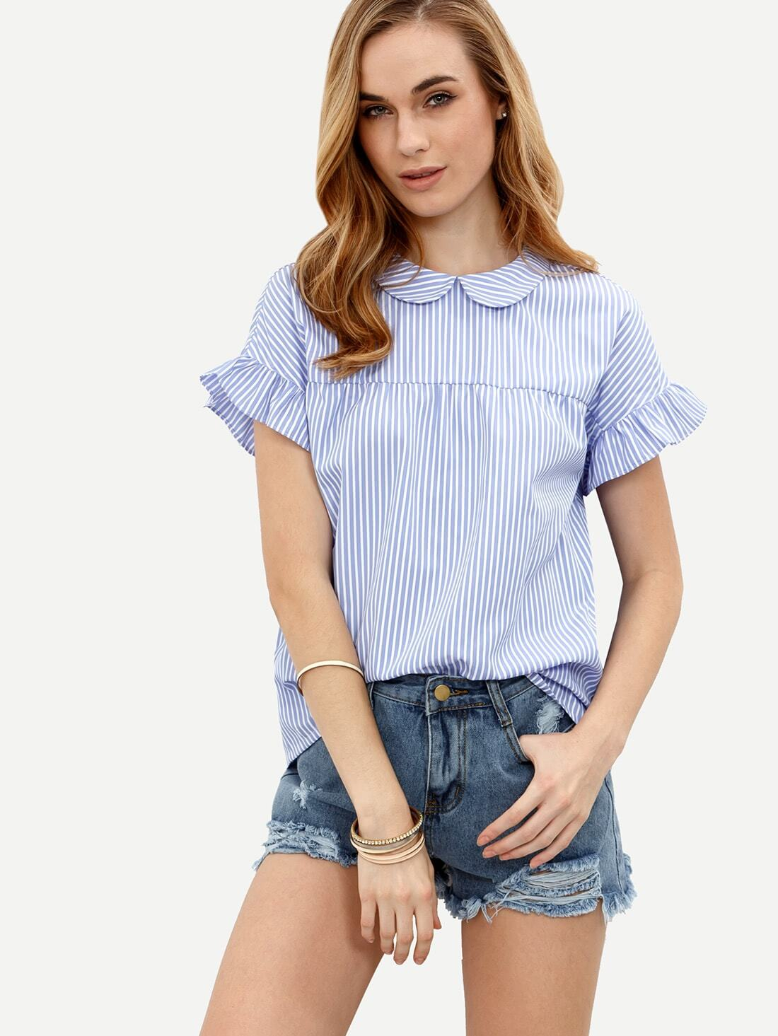 Striped Peter Pan Collar Self-tie Blouse -SheIn(Sheinside)
