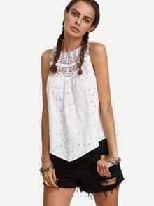 White Embroidered Cutout Sleeveless Blouse