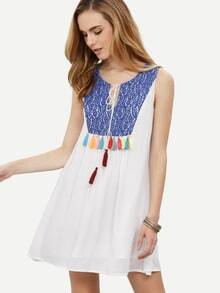 White Tie Tassel Lace Stitching Sleeveless Dress