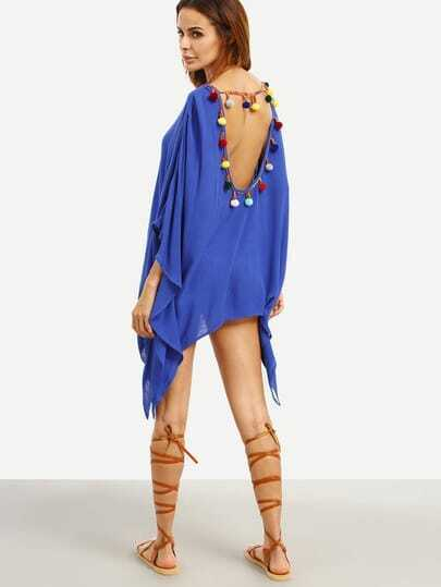 Royal Blue Backless Pom-pom Asymmetrical Dress