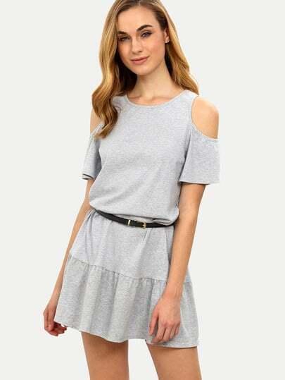 Grey Casual Cold Shoulder Shift Dress