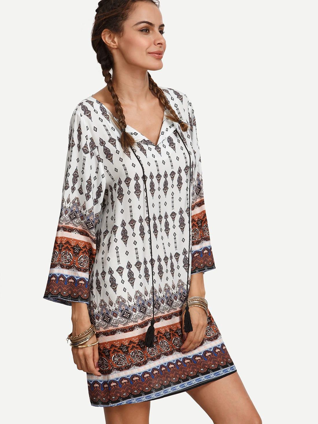 Фото Tassel Tie Neck Tribal Print Dress. Купить с доставкой