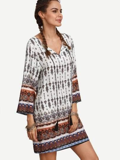 Multicolor Print Tassel Long Sleeve Shift Dress