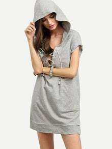 Grey Lace Up Short Sleeve Hooded Split Sweatshirt