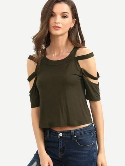 Army Green Cutout Short Sleeve T-shirt