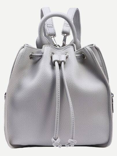Grey Multiway Drawstring Bucket Backpack
