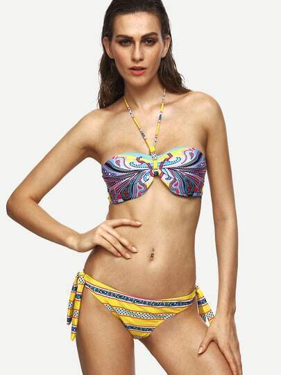 Yellow Pattern Print Halter Neck Bikini Set
