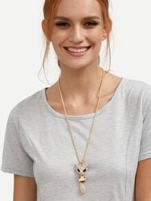Golden Diamond Fox-shaped Pendant Necklace