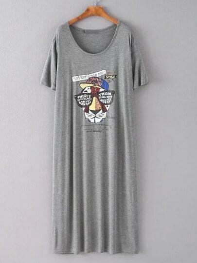 Grey Tiger Printed Midi Dress