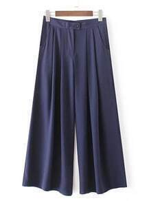 Navy Button Pocket Wide Leg Pleated Pants