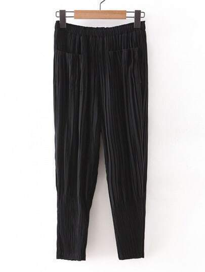 Black Elastic Waist Pleated Chiffon Pants