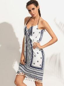 White Flower Print Tassel Trim Wrap Cami Dress