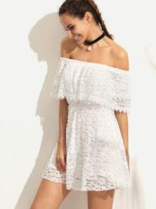 White Ruffled Off The Shoulder Lace Dress