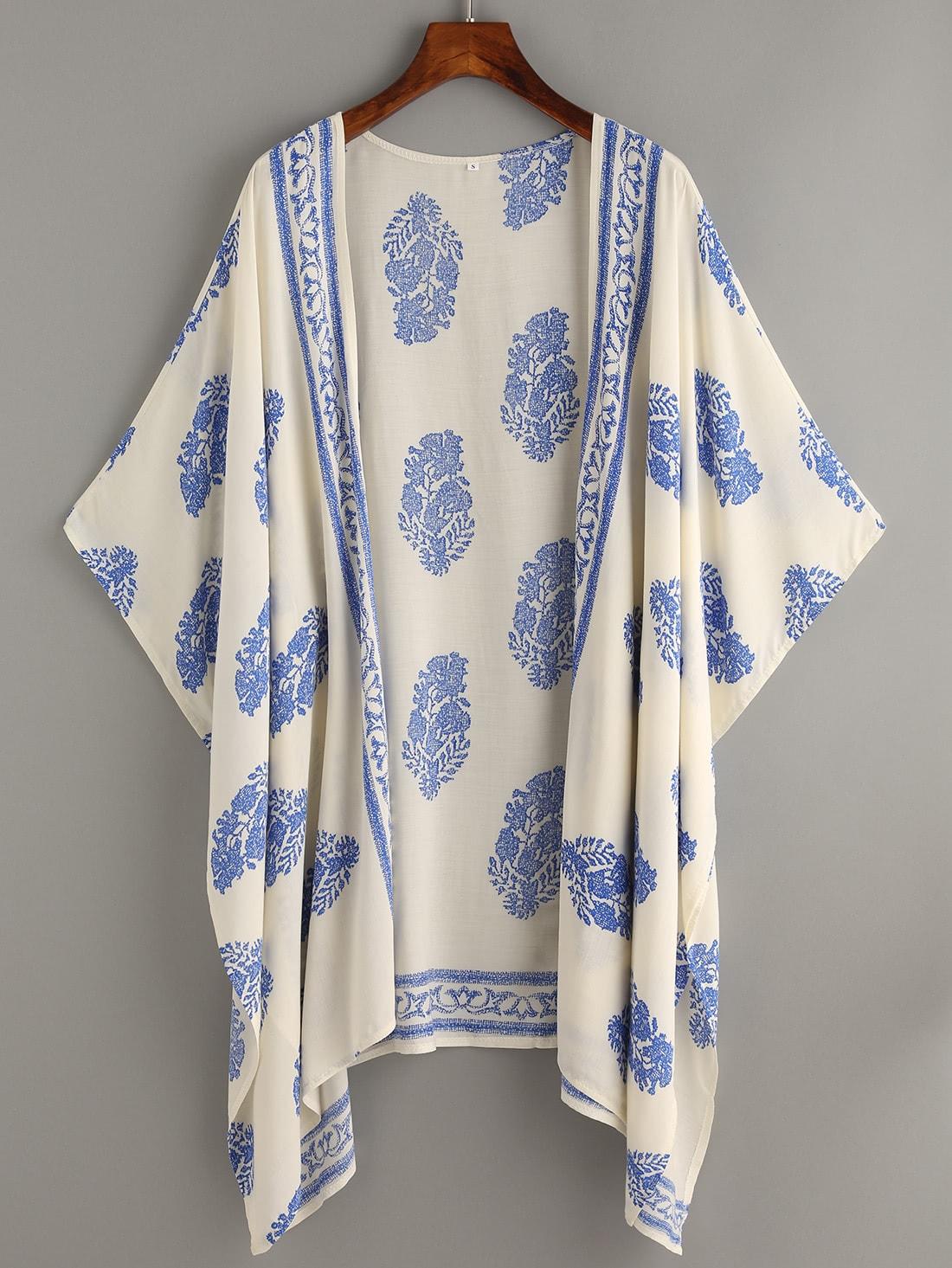 Vintage Pattern Print Hanky Hem Kimono vintage print hanky hem cami top