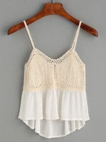 Beige Crochet Insert Peplum Cami Top