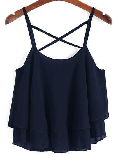 Navy Lattice Layered Chiffon Cami Top