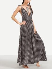 Black Printed Tie Shoulder V Neck Shirred Dress