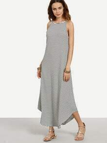 Black White Striped Swing Cami Dress